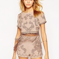 ASOS Top With Cording And Fringing Detail Co-ord