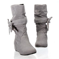 New Fashion Spring Autumn Casual Shoes Princess Sweet Bow Sexy Womens Boot Flat Flock Mid-Calf Soft Increased Within Inside Shoe