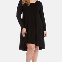 Plus Size Women's Karen Kane Long Sleeve Jersey High/Low Dress,