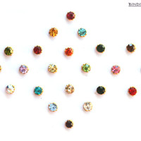 Color Bindi Dots Self Adhesive Indian Nose Pin Eye Accent Eyebrow Decoration Belly Dance Fairy