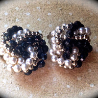 Black and white seed pearl clip on earrings