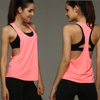 Women's Sports Vest professional quick-drying  fitness Tank Top Active workout clothes T-shirt running Gym Jogging Vest