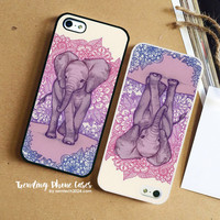 Cute Baby Elephant In Pink Purple Blue  iPhone Case Cover for iPhone 6 6 Plus 5s 5 5c 4s 4 Case