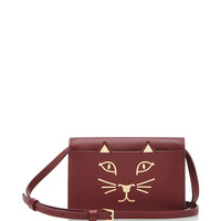 Burgundy Calf Leather Feline Crossbody