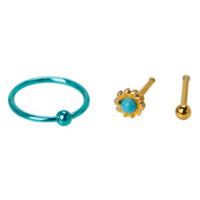 20G Steel Gold & Turquoise Stone Hoop & Nose Bone 3 Pack