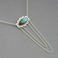 Labradorite Pendant Necklace - Draped Chain Necklace - Sterling Silver - Green Gem