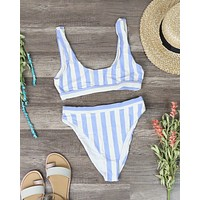 Dippin' Daisy's - Kylie Sporty Swim Top + Banded High Waist High Cut Cheeky Bottom - Sky Stripes