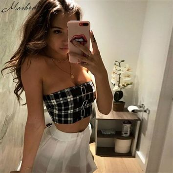 Macheda 2018 New Arrived Classic Tank Tops Short Plaid Sexy Sleeveless Strapless Casual Brandy Melville Buckles Women Adress