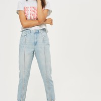 MOTO Bleach Zip Front Mom Jeans - Jeans - Clothing