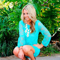 BRIGHTEN MY DAY LACE BOW BACK TEAL DRESS