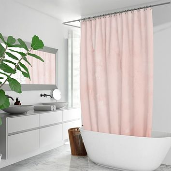 Peach Marble Graphic Style Quick-drying Fabric Shower Curtain