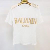 BALMAIN Summer Newest Women Casual Jacquard Knit Hollow Top T-Shirt Black