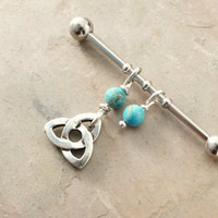 Cetlic Knot Industrial Barbell With Turquoise Upper Double Ear Piercing