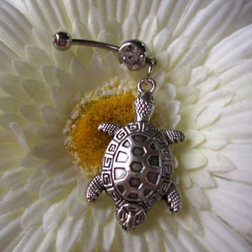 Turtle Belly Ring Navel Ring 14ga Surgical Steel