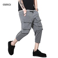 Big Pocket Male Harem Pant Jogger Sweatpants Men Fashion Casual Calf Length Trousers