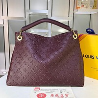 hcxx 968 Louis vuitton Litchi embossed handbag 42-32-16cm Wine Red
