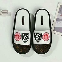 LV Louis Vuitton Popular Women Leisure Print Sandal Slipper Shoes White I-GCXGCFH-GC