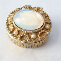 pill box small gold metal hinged snuff box vintage