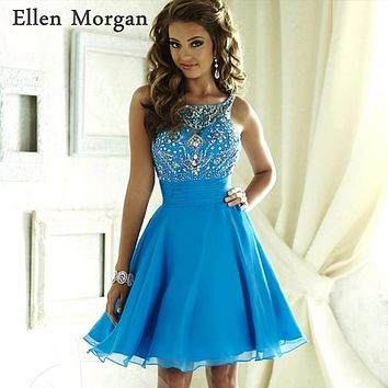 Light Blue Chiffon Short Homecoming Dress