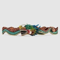 Gucci Leather belt with dragon buckle