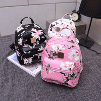 Floral Pu leather white school girl fashion woman travel bag softback backpack