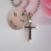 Rememberance Mom Necklace With Stamped Date On Cross In Memorian Loving Memory