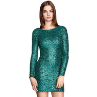 Long Sleeve Sequined Bodycon Mini Dress