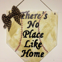 Theres no place like home. Baseball home plate sign with baseball stitching, dirt look, and chevron bow . Baseball decor
