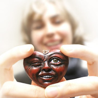 Love Is Fun! OOAK heart pendant, great gift for Valentine's day! One of a kind air dry clay dark red heart pendant completely handmade