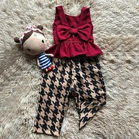 US Toddler Kids Baby Girl Bowknot Top Shirt Pants Trousers Outfits Clothes Set