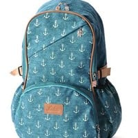 Vintga Anchor Print Canvas Backpack-Blue from styleonline