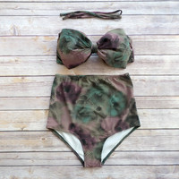 Bow Bandeau Bikini - Vintage Style High Waisted Pin-up Swimwear -  Beautiful Floral Print - Unique & So Cute!