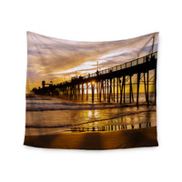 """Juan Paolo """"The Golden Hour"""" Gold Orange Wall Tapestry"""