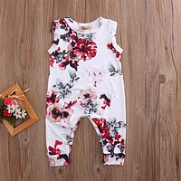 2017 Adorable White Flower Kid Newborn Clothes Toddler Baby Boy Girl Sleeveless Romper Outfits