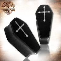 """Pair Gothic Organic Ebony Wood Plugs Double Flare Coffin inlay Cross Ear Plug Sizes 0g, 00g, 000g, 9/16"""" 5/8"""" 3/4"""" 7/8"""" 25mm Wooden Gauges"""