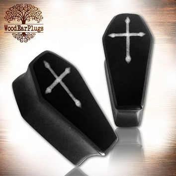 "Pair Gothic Organic Ebony Wood Plugs Double Flare Coffin inlay Cross Ear Plug Sizes 0g, 00g, 000g, 9/16"" 5/8"" 3/4"" 7/8"" 25mm Wooden Gauges"