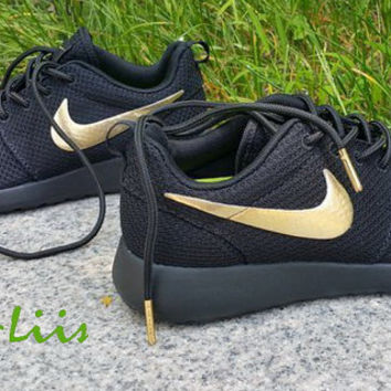 Custom Nike Roshe Run athletic running shoes Black with Gold Line