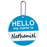 Nathaniel Hello My Name Is Round ID Card Luggage Tag