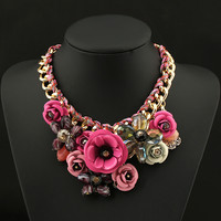 22PINK Necklaces & Pendants Crystal Flower Vintage Choker Statement Necklace Fashion Jewelry
