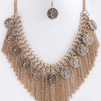 Fringe Chain and Coins Necklace