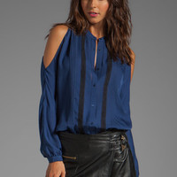 Haute Hippie Open Shoulder Blouse in Sapphire/Black from REVOLVEclothing.com
