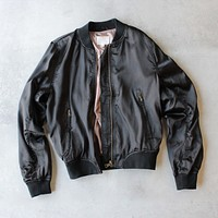 Final Sale - Lightweight Satin Bomber Jacket in Black