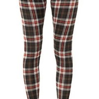 Red Black Tartan Plaid Punk Leggings Full Length Ankle Pants Stretchy Rock