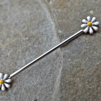 Daisy Industrial Barbell 14ga Body Jewelry Scaffold Ear Jewelry Double Piercing Upper Ear Jewelry