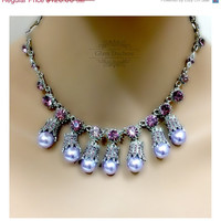 Bridesmaid necklace,Wedding jewelry, bridesmaid, vintage inspired tear drop purple crystal pearl jewelry set, Jewelry set