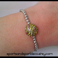 Softball Bling Rhinestone Stretch Sports Bracelet
