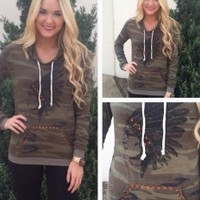 Camo Indian Head Hoodie
