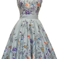 Mint Green Butterfly Floral Tea Dress