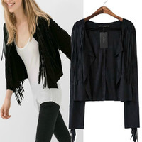 Women's Fashion Boyfriend Irregular Tassels Three-quarter Sleeve Jacket [5013106756]