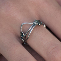 Silver Ring Recycled sterling Silver ring, organic silver black  Modern eco friendly silver ring silver jewelery